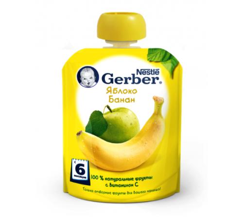 "gerber Пюре ""Яблоко-банан"" 90 гр. (6+)"