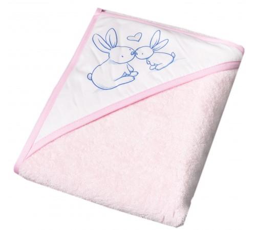 """tega baby Полотенце с капюшоном """"Кролики"""" kr-008-104 (100х100 см.) розовый"""