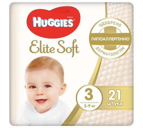huggies elite soft 3 (5-9 кг.) 21 шт.