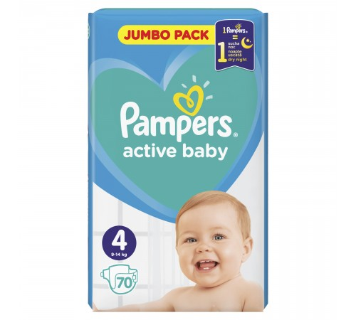 pampers active baby 4 (9-14 кг.) 70 шт.