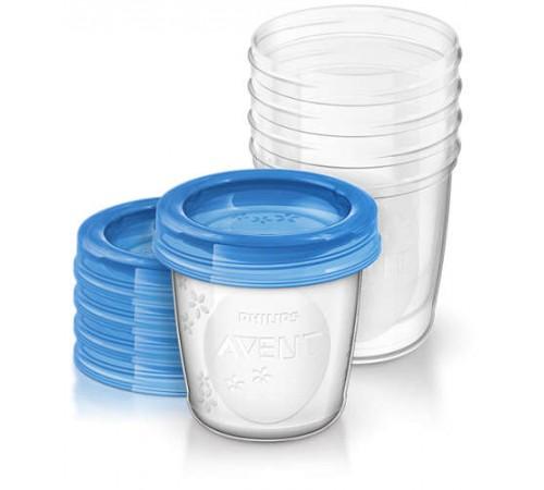 avent scf619/05 containere pentru depozitarea laptelui matern cu capac (180 ml.) 5 buc.