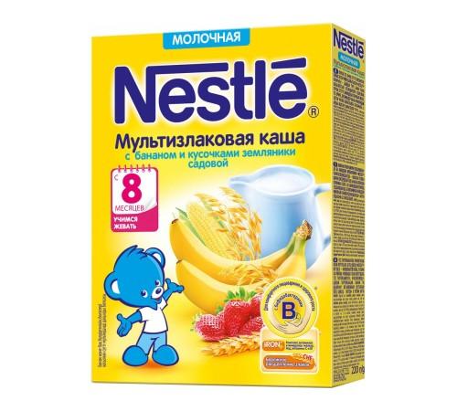 Детское питание в Молдове Каша молочная nestle мультизлаковая с бананом и кусочками земляники с 8 мес. 220 г
