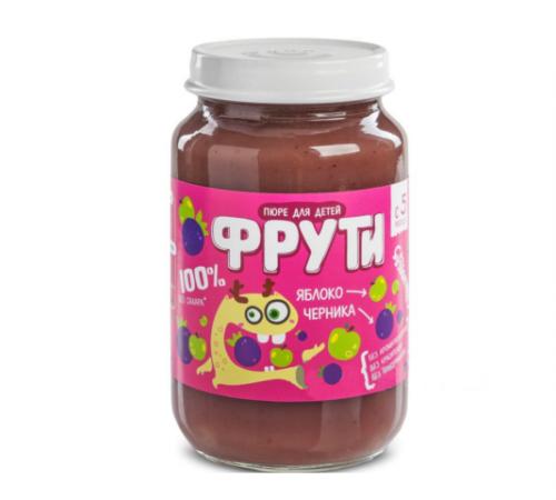 """Детское питание в Молдове """" Маленькое счастье """" . Пюре  """"Фрути"""" яблоко-черника 180 г  (6m+)"""