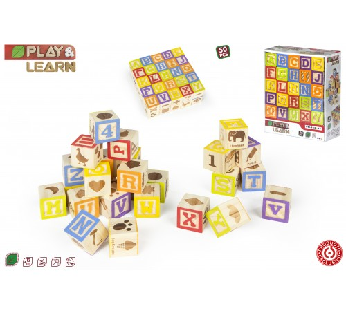 color baby 42603 jucărie din lemn play & learn cubes