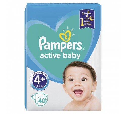 pampers active baby 4+ (10-15 kg.) 40 buc.