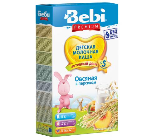 Детское питание в Молдове bebi Молочная овсяная каша premium с персиком (5+) 250 гр.