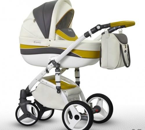 Детские коляски в Молдове wiejar Коляска 2в1 evado 05 eco-кожа, бело-серый