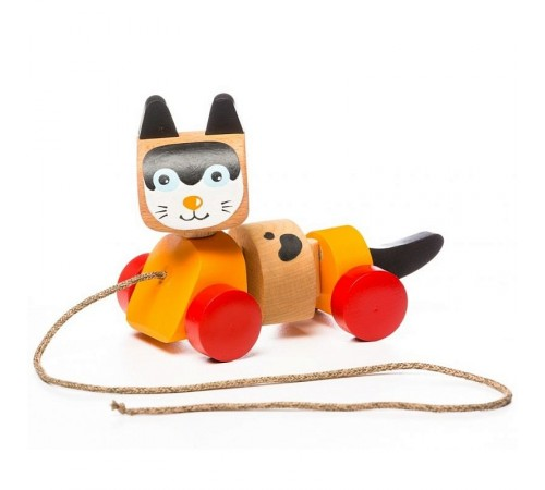 """Детскиймагазин в Кишиневе в Молдове cubika 13616 Деревянная игрушка-каталка """"Котик"""""""