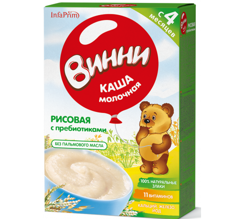 Детское питание в Молдове Винни Каша молочная Рисовая с пребиотиками (4м+) 200 гр.
