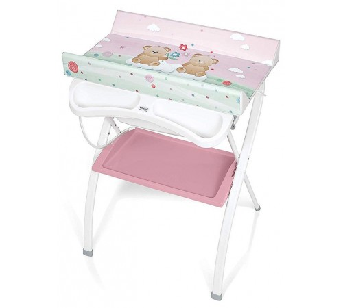 brevi Пеленальный столик с ванночкой lindo 586 Мишка розовый