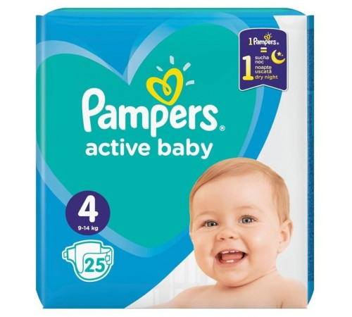 pampers active baby maxi 4 (9-14 кг.) 25 шт.