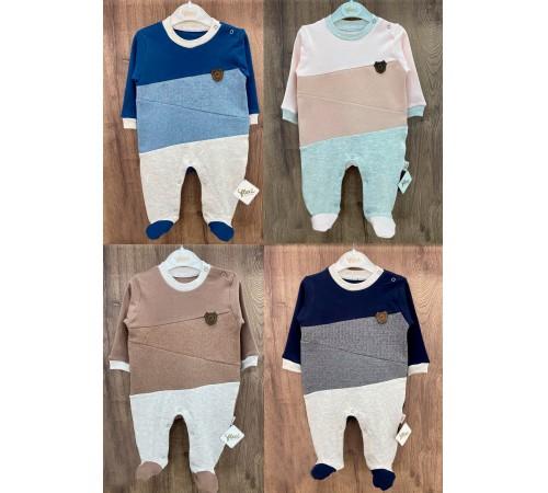 Одежда для малышей в Молдове flexi 213754 Комбинезон хлопок с начесом для мальчика (р.56-62-68) в асс.