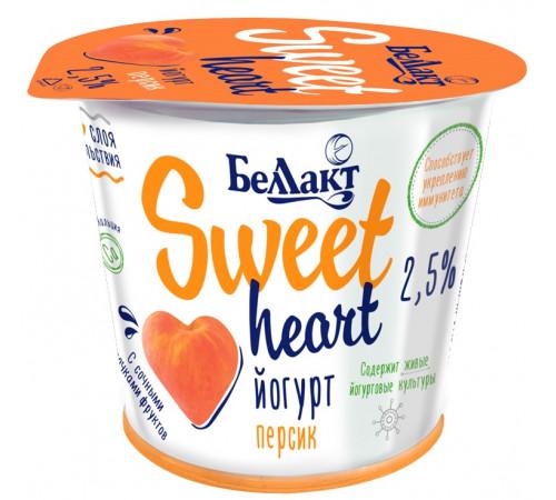 "Беллакт iaurt cu două straturi ""sweet heart"" piersic 2,5% (100 gr.)"