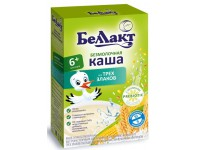 "Беллакт Каша безмолочная ""3 злака"" кукуруза, рис, пшеница (6m+) 200 гр."
