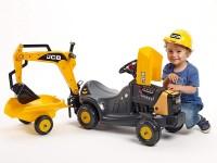 """falk 3035n Трактор-экскаватор """"jcb"""" с  прицепом и шлемом жёлтый"""