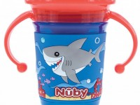 nuby id10492 Поильник 360° с ручками 240 мл. (6m.+)