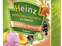 "heinz pudding asorti din fructe cu frisca ""cereale si fructe""(6 m+) 200 gr."