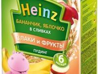 """heinz Пудинг Банан и яблоко в сливках """"Злаки и фрукты"""" (6м+) 200 гр."""