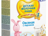 bebi Молочная овсяная каша premium с персиком (5+) 250 гр.